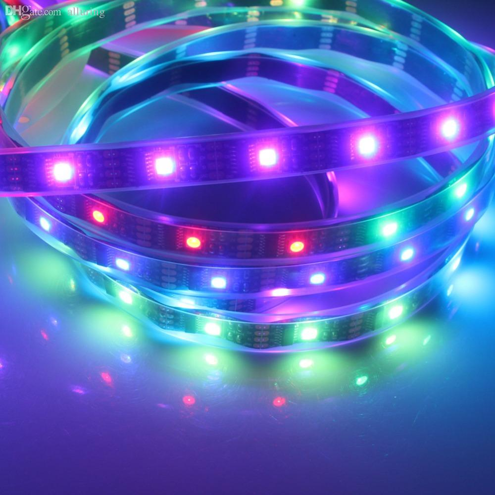Wholesale Miyole Rgb Led Strip Ws2801 Pixel 32 M Ic Dc5v The Strips In My Device Use Controller Uses A Black Pcb Ip67 Waterproof Magic Dream Color Rope Light 1m Blue Flexible