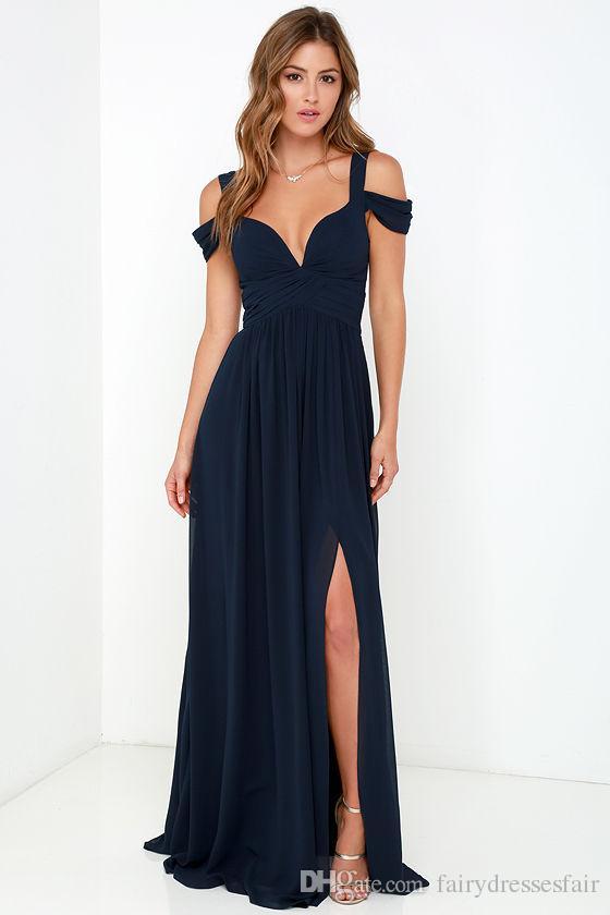 9c628a3d77 Bariano Ocean Of Elegance Navy Blue Maxi Dress A Line Straps Off Shoulder  Floor Length Chiffon Celebrity Dresses Evening Gowns Elegant Formal Dresses  ...