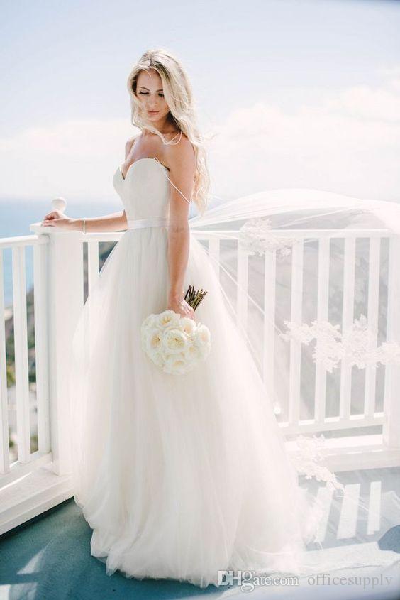 2019 vintage avorio spaghetti cinghie tulle scollo a cuore abiti da sposa lunghi piano lunghezza backless spiaggia abiti da sposa