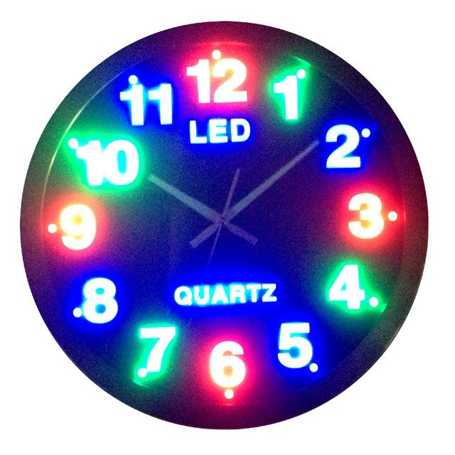 Circle Led Wall Clock Plug In Digital Mute Clock And Watch Steel