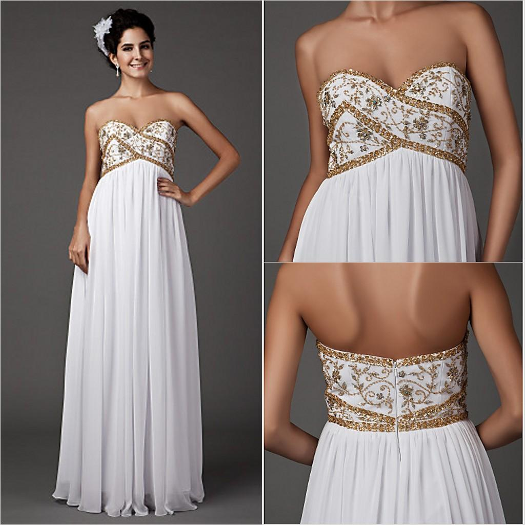 2016 New Fashion Popular Free Shipping Elegant White Floor-length Sweetheart Gold Beads Chiffon Sheath Wedding Dresses 266