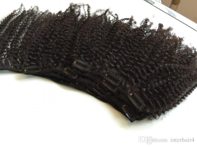 Cabelo Virgem brasileira afro kinky curly Clip Em Extensões Do Cabelo Humano 6 Pçs / set 120g Cabeça Cheia Set Natural Cor Preta Frete Grátis
