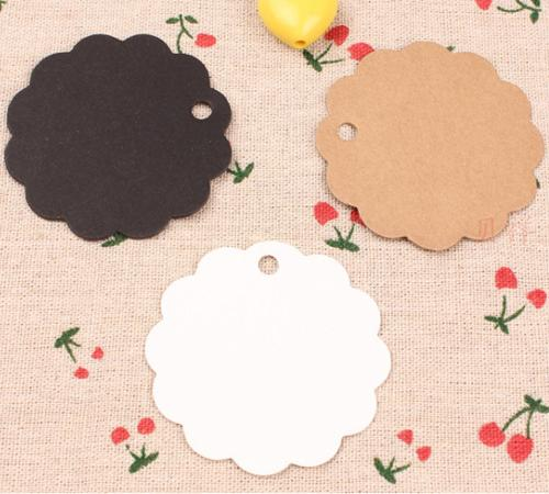 6*6cm DIY Kraft Paper Party Wedding Favor Gift Label Wish Greeting Cards Circular Scalloped Blank Tags Luggage Label Clothing Price Hang Tag