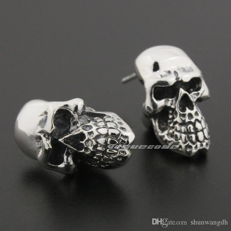 Riesige schwere 925 Sterling Silber Schädel Herren Biker Rocker Stud Ohrring 8R020A