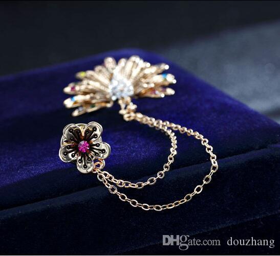 الرجعية حجر الراين زهرة فخور الطاووس سلسلة مزدوجة الشرابة بروش للنساء lable broches المجوهرات التبعي الجملة 12 قطع