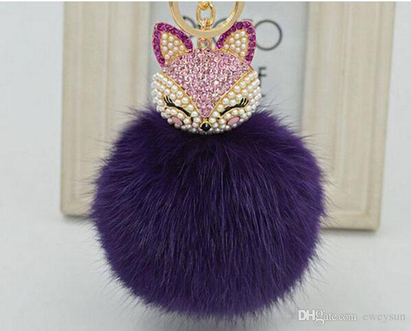 Yanting lovely crystal fox rabbit fur keychains women trinkets suspension on bags car key chain keyrings toy gifts llaveros