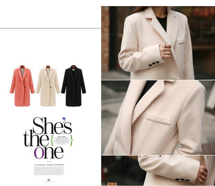가을 / 여성을위한 겨울 롱 캐시미어 코트 여성 2015 유럽과 미국의 패션 슬림 블레이저 목 긴 울 윈드 의류 코트를