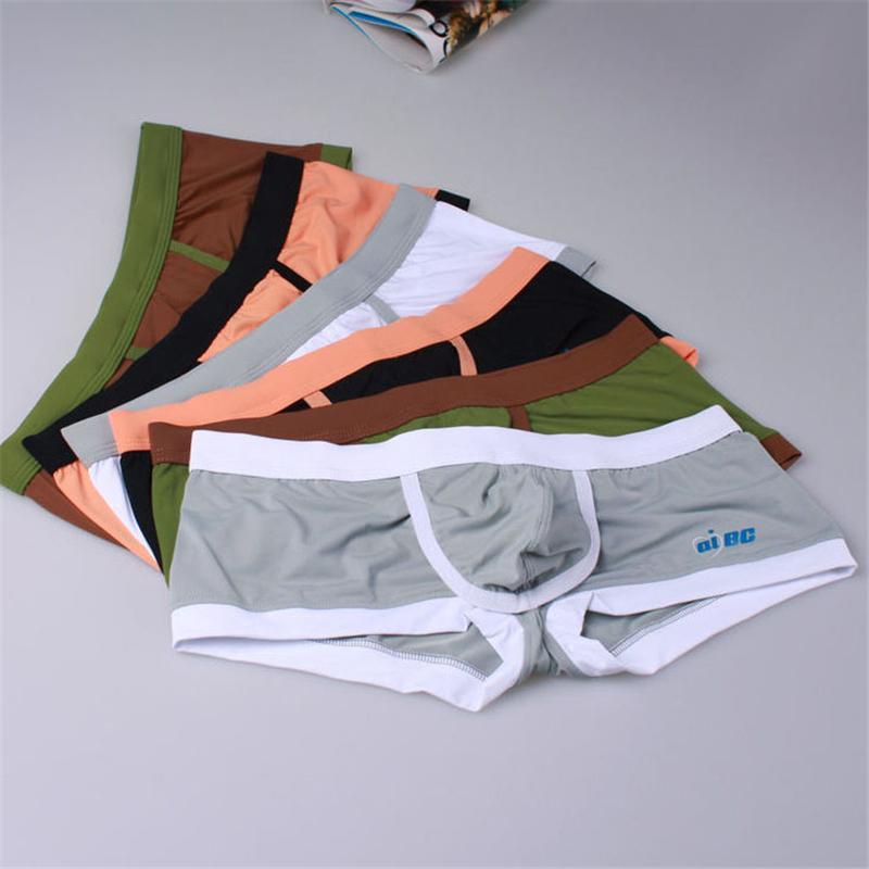 Sous-vêtements Boxer pour Hommes Slip en Soie Sexy U Convexe Ouvert Slits Design Évider Respirant Hommes Boxer Shorts Culotte Sous-Vêtements