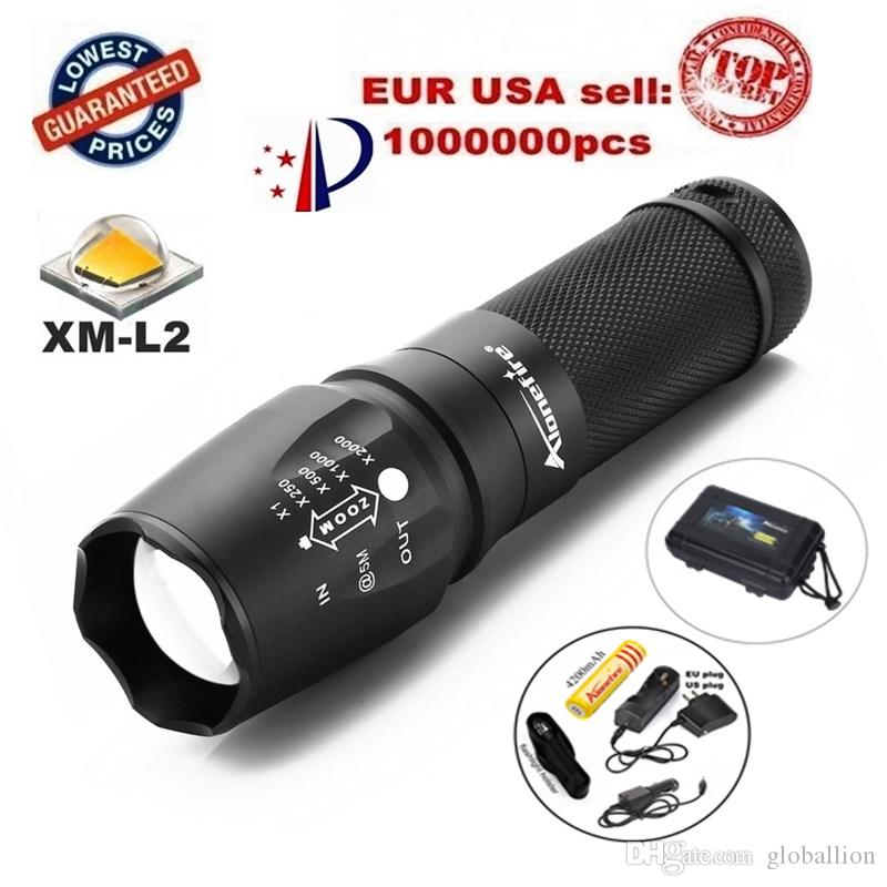 X800 Zoomable 2200LM gun tactical Flashlights torch Waterproof light cree L2 led Camping Hiking +1x18650 Battery car charge holster