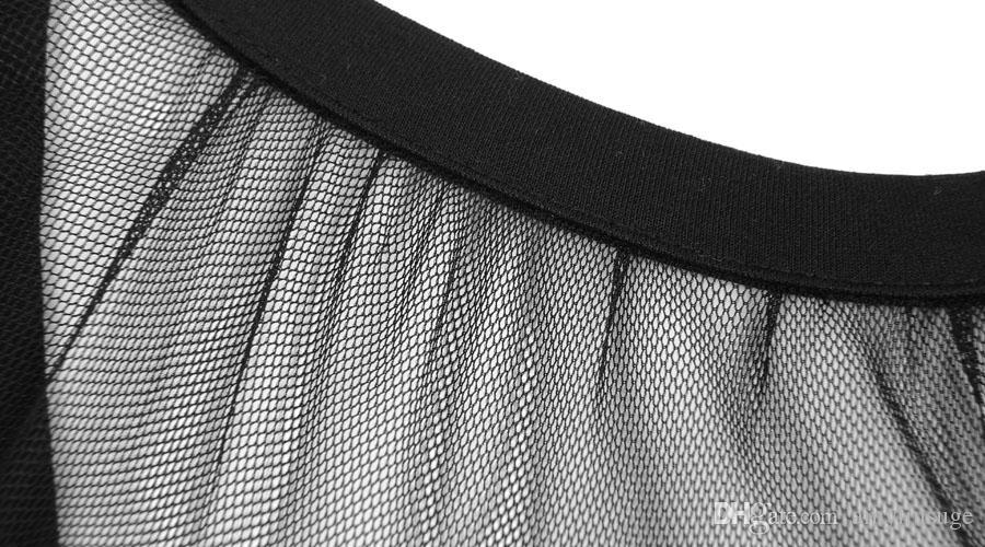 Gratis verzending Dames Mesh Fashion Bodycon Stretch Cocktail Club Wear Party Avond Potlood Jurk Zwarte Obs-hals Knielengte 1869