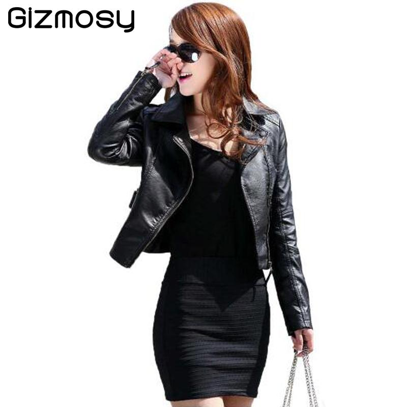 92a82c124 Wholesale- Vintage PU Leather Jacket Women Slim Biker Motorcycle ...