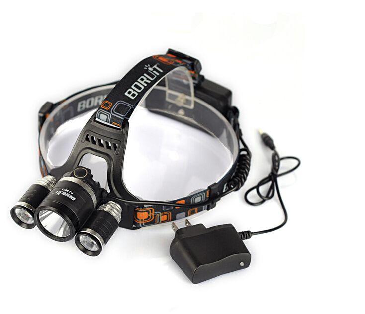 Drop shipping Boruit RJ-3001 3x XM-L T6 LED Headlight 5000 Lumen Head Lamp Flashlight Torch Lanterna Headlamp+US/EU/AU AC Charger