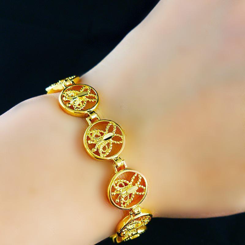 Snel Gratis Verzending Fijne Bruiloft Sieraden 24K Gouden Armbanden Vlinder Armbanden Breedte: 12mm Lengte: 2cm Gewicht: 13G