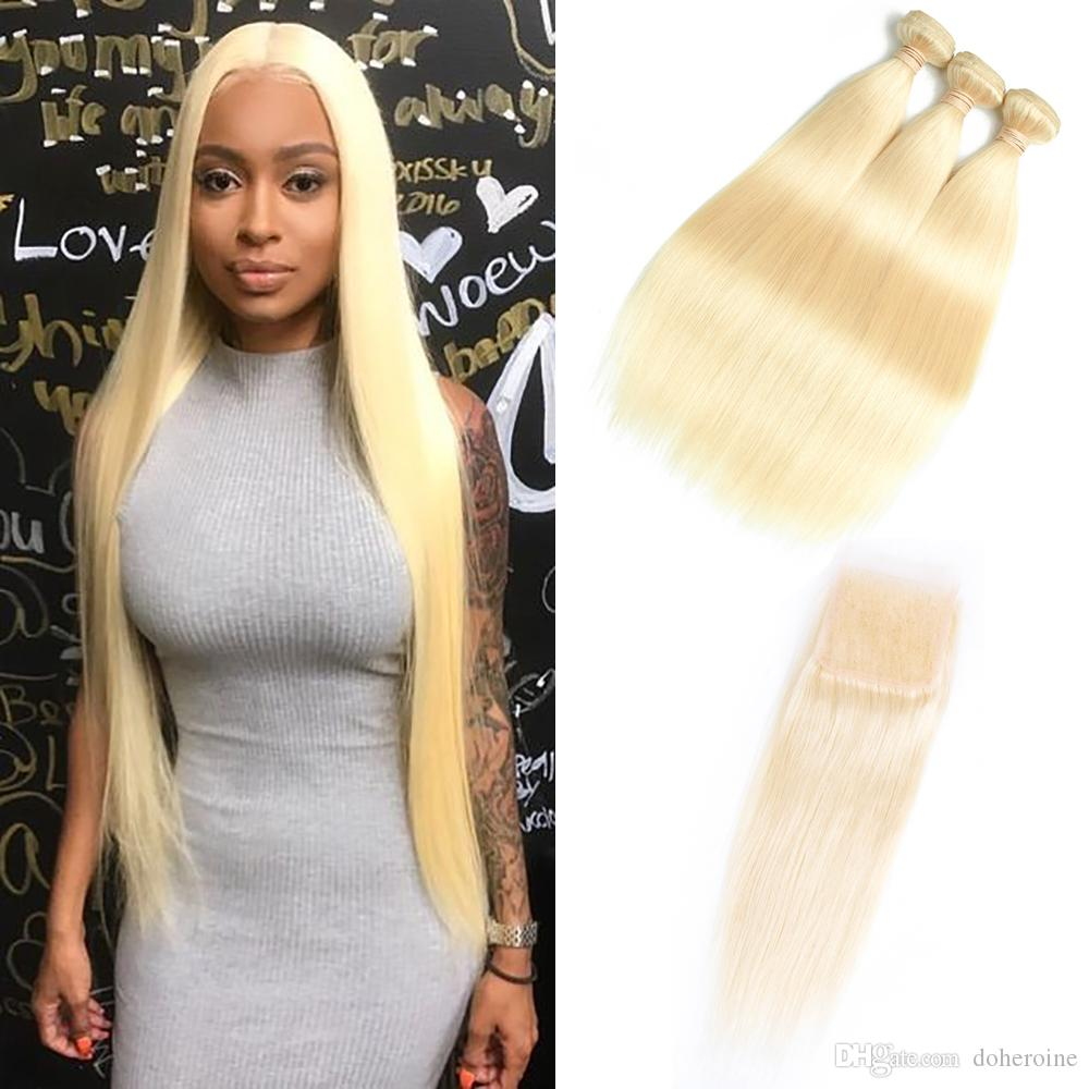 Brazilian 613 Straight Human Hair Bundles With Closure 100%Unprocessed Virgin Hair 3 Bundles With Lace Closure Honey Platinum Hair Extension