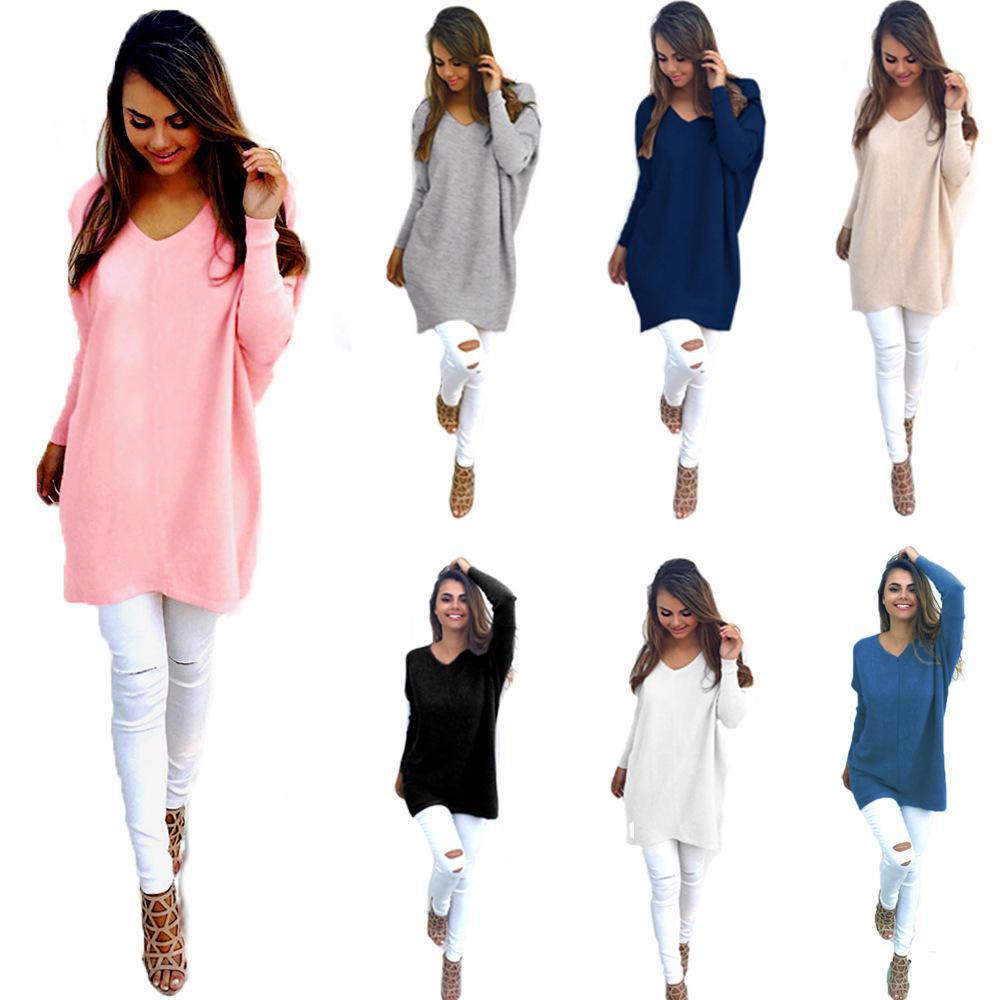 e090f5ba6dc7 Suéteres de las mujeres Jerseys Suéter largo suelto Casual Pull Femme V  Cuello Suéter de punto 2017 Nuevo Otoño Invierno Suéter Largo 57