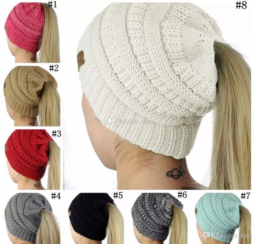 Compre Mujeres Cc Beanies Invierno Gorros De Lana Chica Ponytail ...