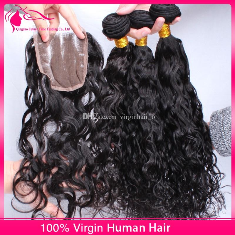 Brazillian Water Wave With Lace Closure Free Middle 3 Way Part Closure 4X4'' With Bundles Loose Curls Wet and Wavy Human Hair Weaves