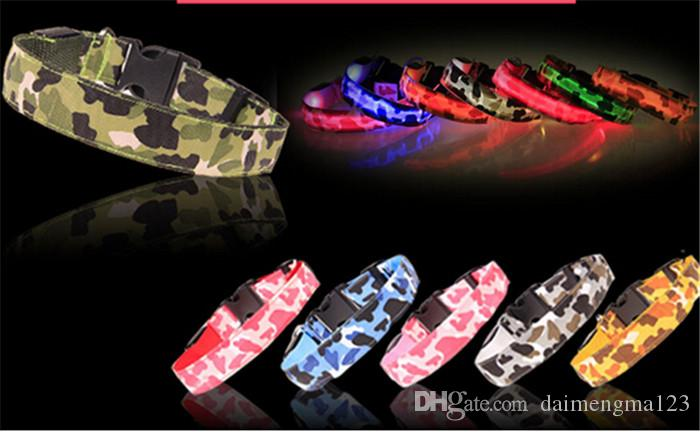5-pcs Hund camouflage Halsbänder Hund LED Halsband Glow Cat Halsbänder Flashing Nylon Hals Light Up Trainingshalsband für Hunde D498