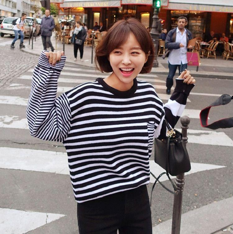fef215d57 2019 Korean Striped Sweater Sleeve Striped Sweater Hedging Asymmetry From  Yuncai1