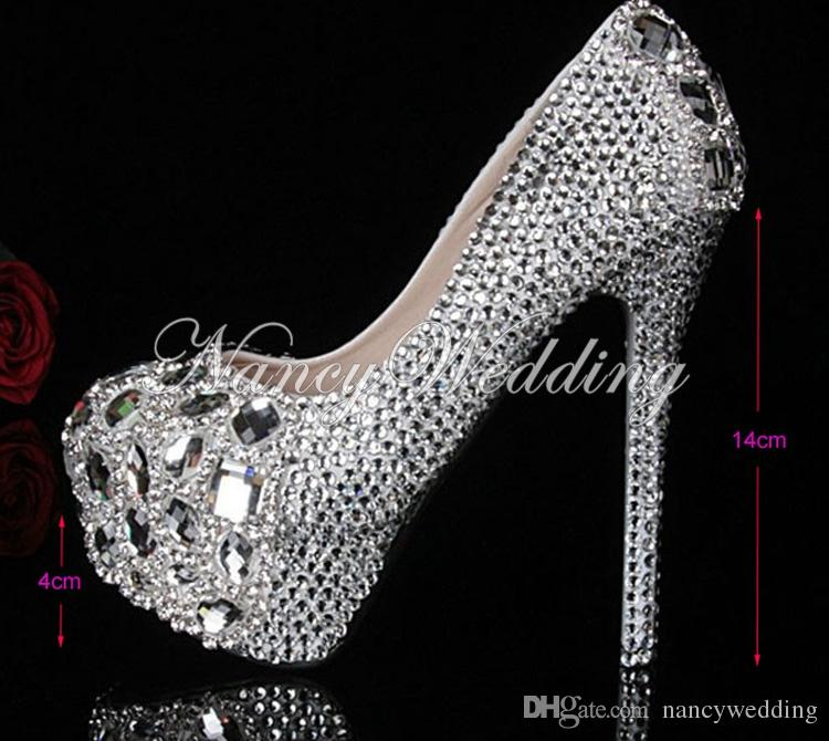 Silver Custom Made plus size high heel crystals and rhinestones bridal wedding shoes Diamond Lady Shoes for Graduation Prom Ceremony