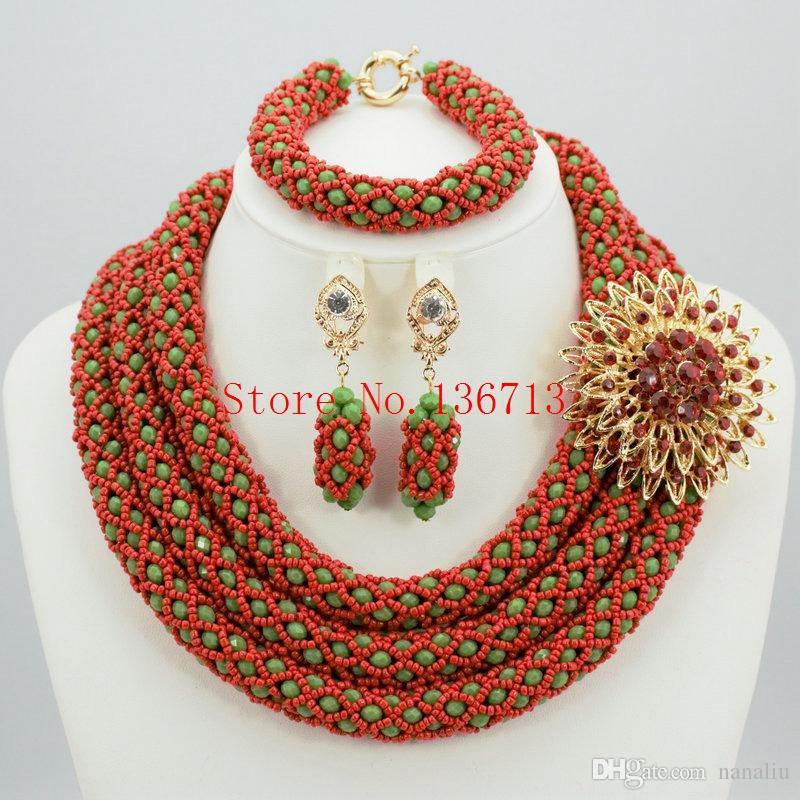 238fbb97b15899 2019 Fashion Nigerian Wedding African Beads Jewelry Set Crystal Necklace  Bracelet Earrings Jewelry Set ST305 3 From Nanaliu, $104.53 | DHgate.Com