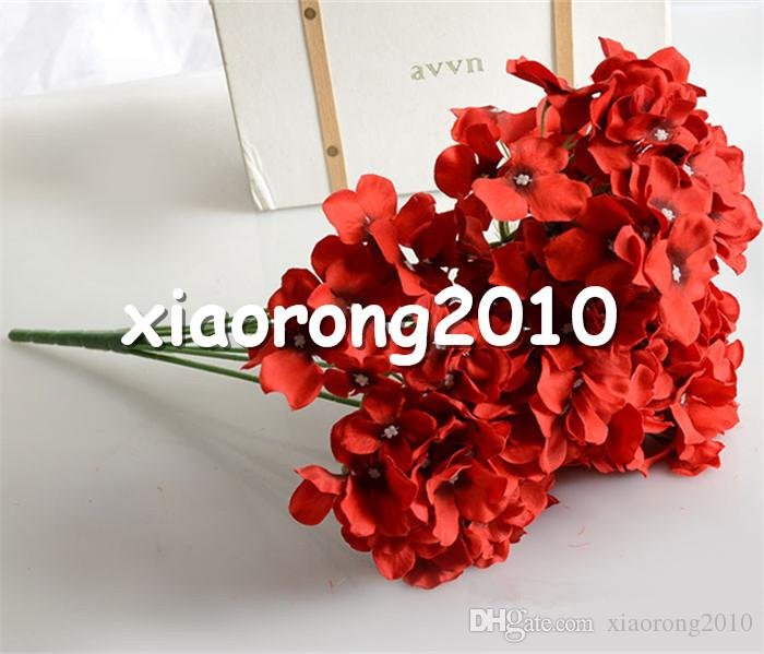 "HOT Silk Hydrangea Bunch 57cm/22.44"" Length 15P Artificial Flowers Hydrangeas Large Flower Head for Wedding Centerpieces"
