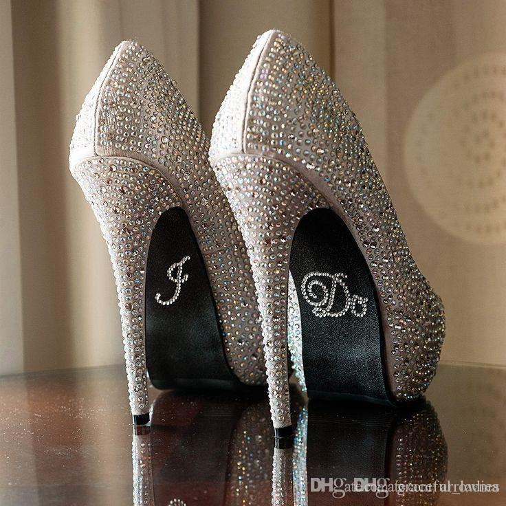 """1 Rair Wedding Shoes Sticker Include""""I DO"""" Or """"ME TOO"""" Clear Rhinestones Bridal Shoe Bottom Decoration Cheap Modest 1 Usd One Pair"""