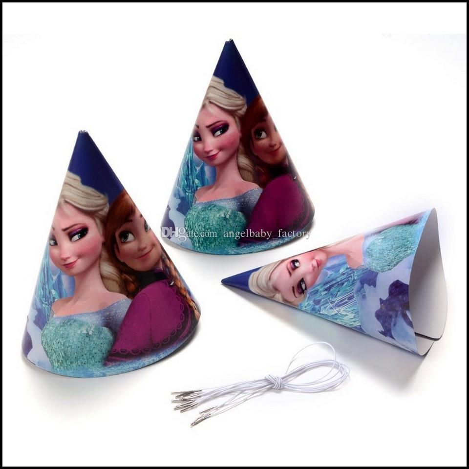 2018 Frozen Party Supplies Paper Hats Anna Elsa Children Birthday Decoration Supply Cartoon Cone Shaped From Angelbaby Factory