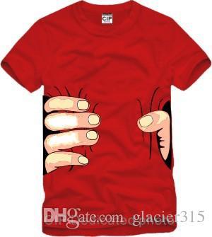 شنغهاي قصة جديد وصول أعلى جودة كبيرة اليد تي شيرت! رجل إمرأة الملابس الطباعة الساخنة 3d تي شيرت الرجال الزى 100٪ ٪ S-XXXL 6 اللون