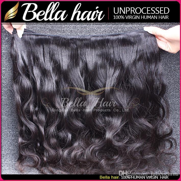 Comprimento da mistura 8-30 Virgin Peruan Human Cabelo Weave 4 pçs / lote Extensões de onda de corpo de corpo Bella feixes