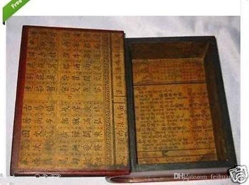 Chinesisches Leder Holz geschnitzt Dragon Phoenix Buch Schmuckschatulle