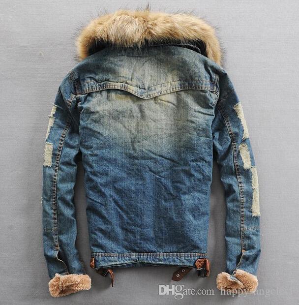 Новый мужской зима теплый меховой воротник меховая подкладка джинсовая куртка пальто размер S-XXXL