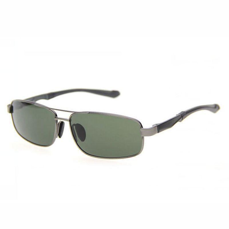 888f6bc7c1 Small Polarized Pilot Sunglasses For Men Metal Frame Green Rectangle ...