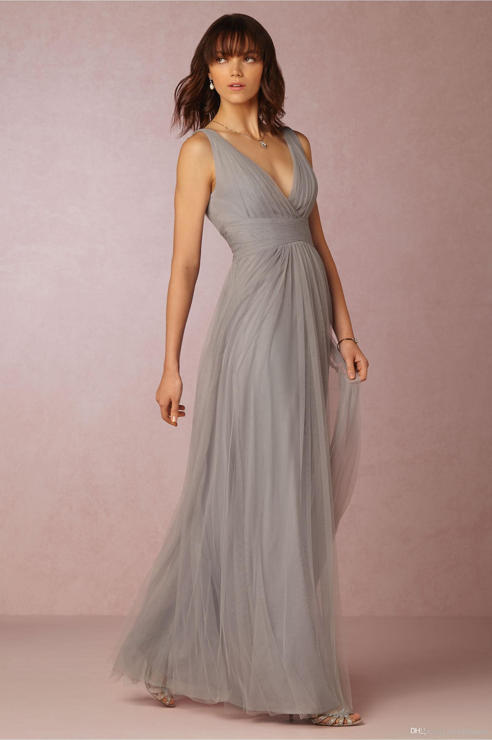 2019 Bridesmaid Dresses Cheap A-Line Grey V-Neck Sleeveless Pleat Tulle Floor Length Maid Honor Special Occasion Dresses For Wedding