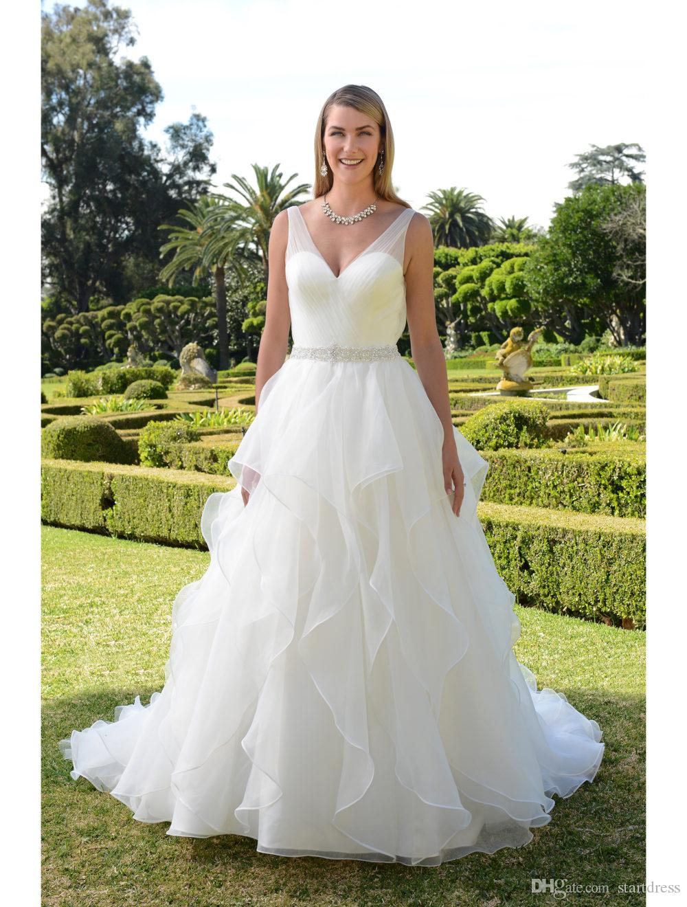 Vintage A Line Organza Country Wedding Dresses Sexy Plugging V-neck Boho Wedding Dress Sheer Straps Crystal Sash Cascading Ruffles Bridal