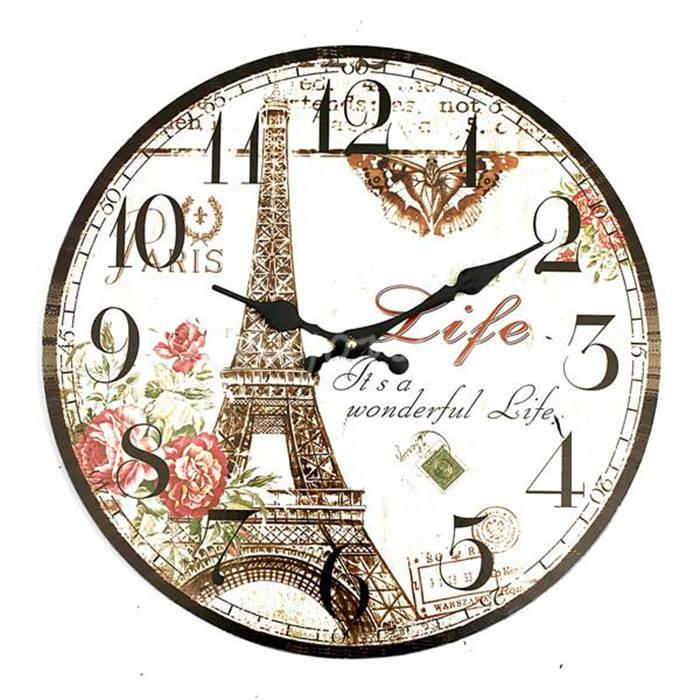 high quality large wall clock eiffel tower vintage rustic shabby