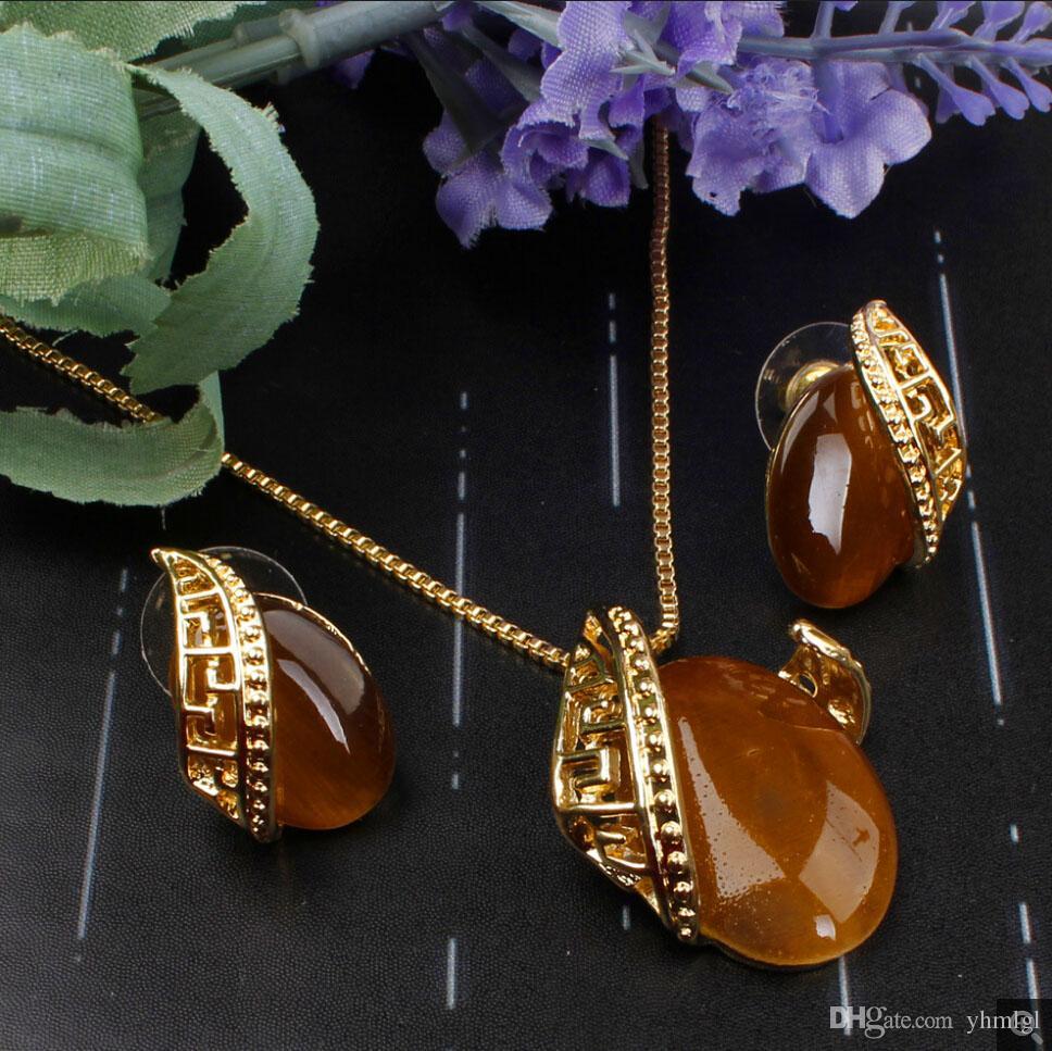 Уникальный Дизайн Романтический Овальный Опал Камень Кулон Necklace18K Позолоченные Ожерелье Серьги Комплект Ювелирных Изделий Для Женщин Свадебный Комплект
