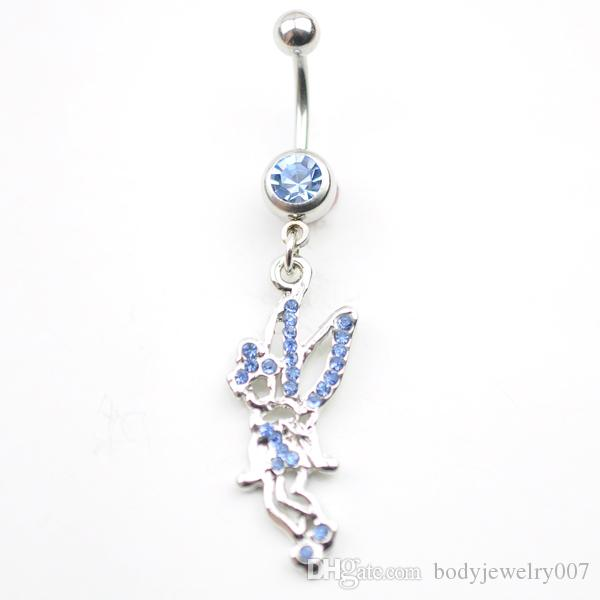 D0005-2   Angel Belly Button Navel Rings Body Piercing Jewelry Dangle Accessories Fashion Charm Playboys CZ Stone