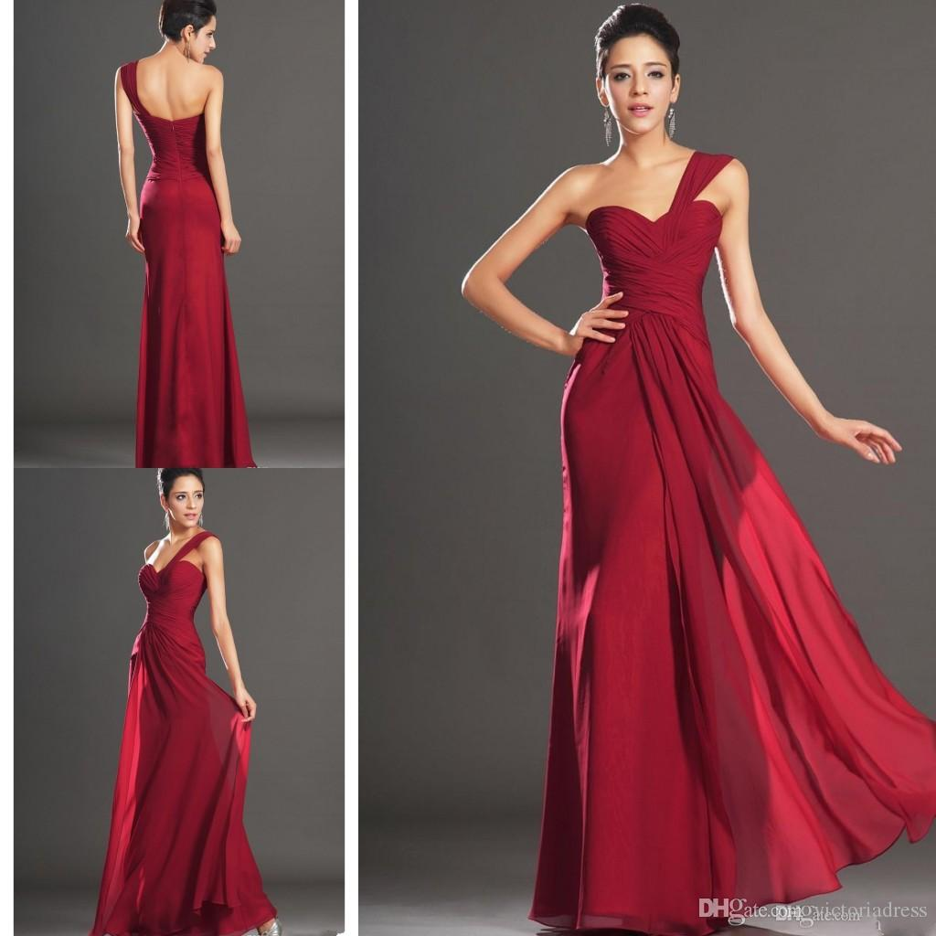 Wine red one shoulder a line chiffon bridesmaid dress ruffled wine red one shoulder a line chiffon bridesmaid dress ruffled pleated empire waist backless floor length beach summer bridal evening dresses bridesmaid ombrellifo Image collections
