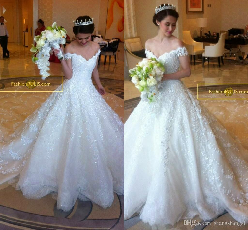 2015 Royal Style Wedding Dresses A Line Off Shoulder Lace Applique ...