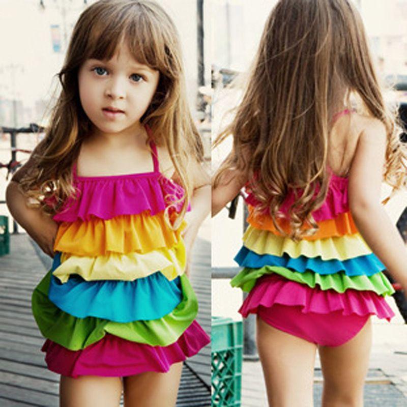 414aa9b1b4b Girl Swimwear Rainbow One-Piece Swimming Suit Girl Bikini Bathing Suits For  3-10 Years free shipping hot sale swimming suits