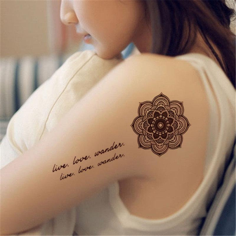 Brown Henna Tattoo Flower Feather Totem Designs Temporary Tattoo