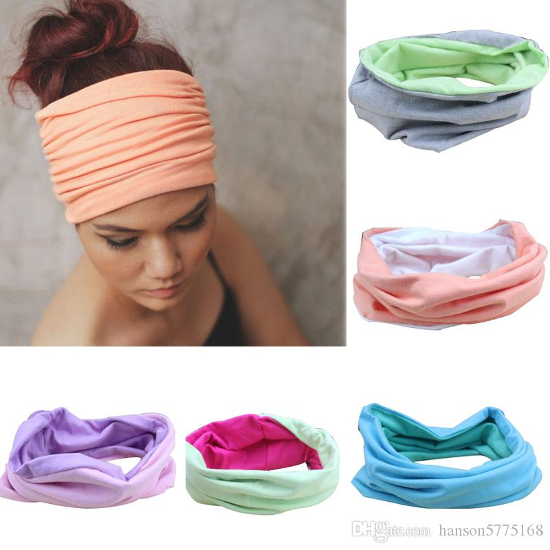 Apparel Accessories Fashion Wide Patchwork Cotton Headband For Women Lady Plain Fabric Yoga Sport Elastic Hairband Turban Headwrap Hair Accessories