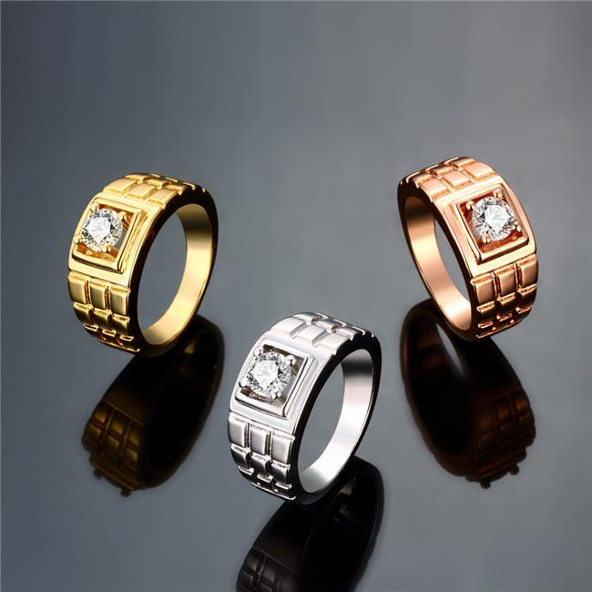 2018 Men Ring With Cz Diamond 18k Gold Plated Fashion Jewelry