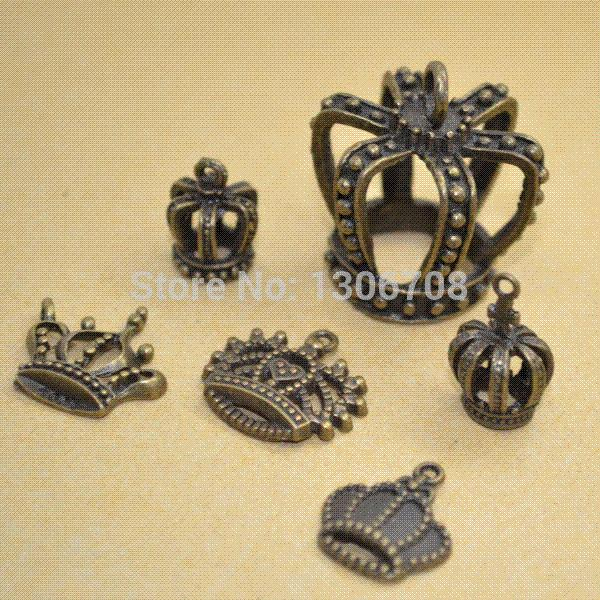 Wholesale mix 5*6pcs/lots charm metal antique bronze pendant crown fit jewelry making z42422 jewelry care jewelry for cell phone