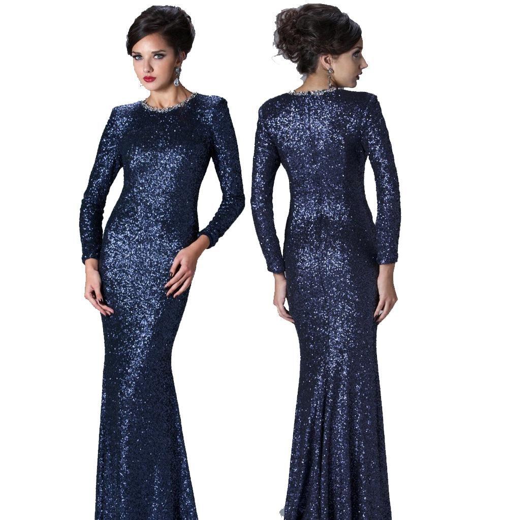 Bling Navy Blue Sequin Long Sleeves Evening Dresses Beaded Jewel ...