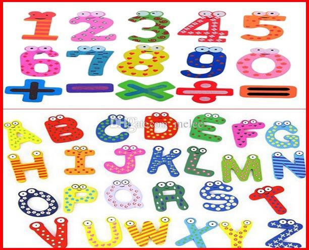 3280 ADET Fedex Gemi Karışık 26 Harfler + 15 Numarası Rakam Eğitici Çocuklar ve Çocuklar Komik Ahşap buzdolabı mıknatısı sopa 1 adet için 41 adet