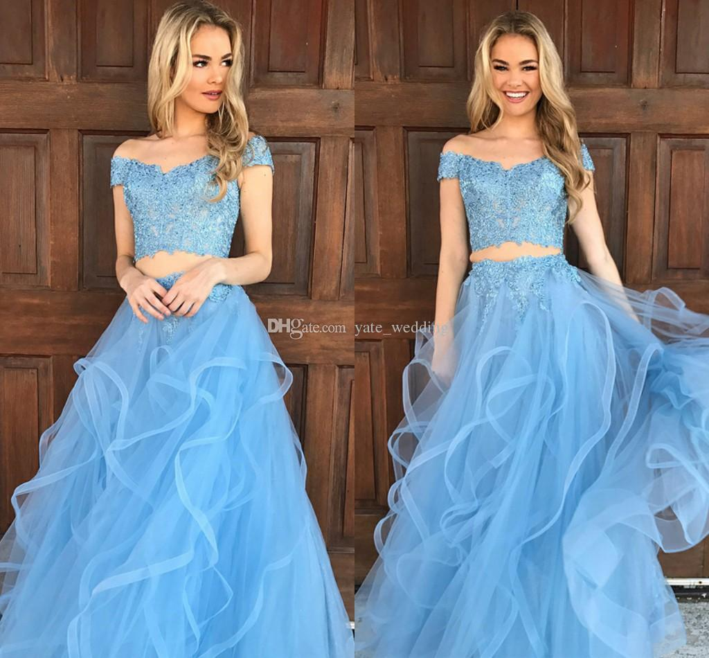 Light Sky Blue Two Piece Prom Dresses Off Shoulder Lace Tulle Floor ...