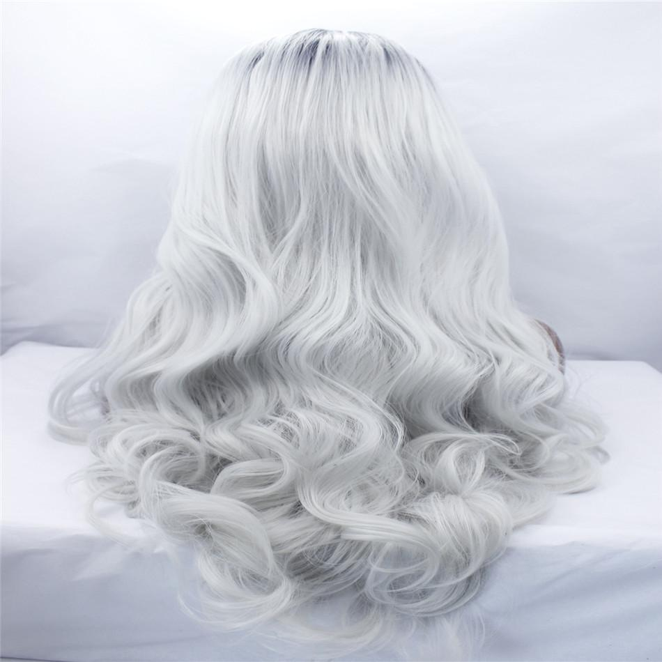 lace front wig synthetic fiber silky straight long soft hair dark root ombre platinum/silver grey mixed color150% density Big wave hairstyle