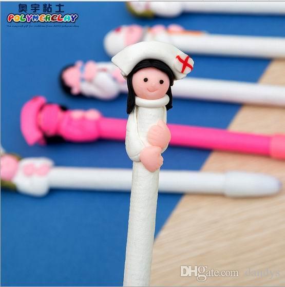 粘土スタイルボールペン医師と看護師シリーズ柔らかい陶器粘土ボールペン、100個/ロット